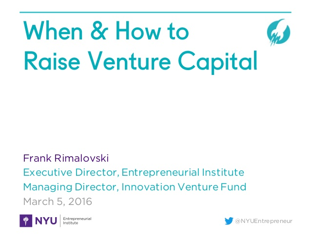 When & How to Raise Venture Capital